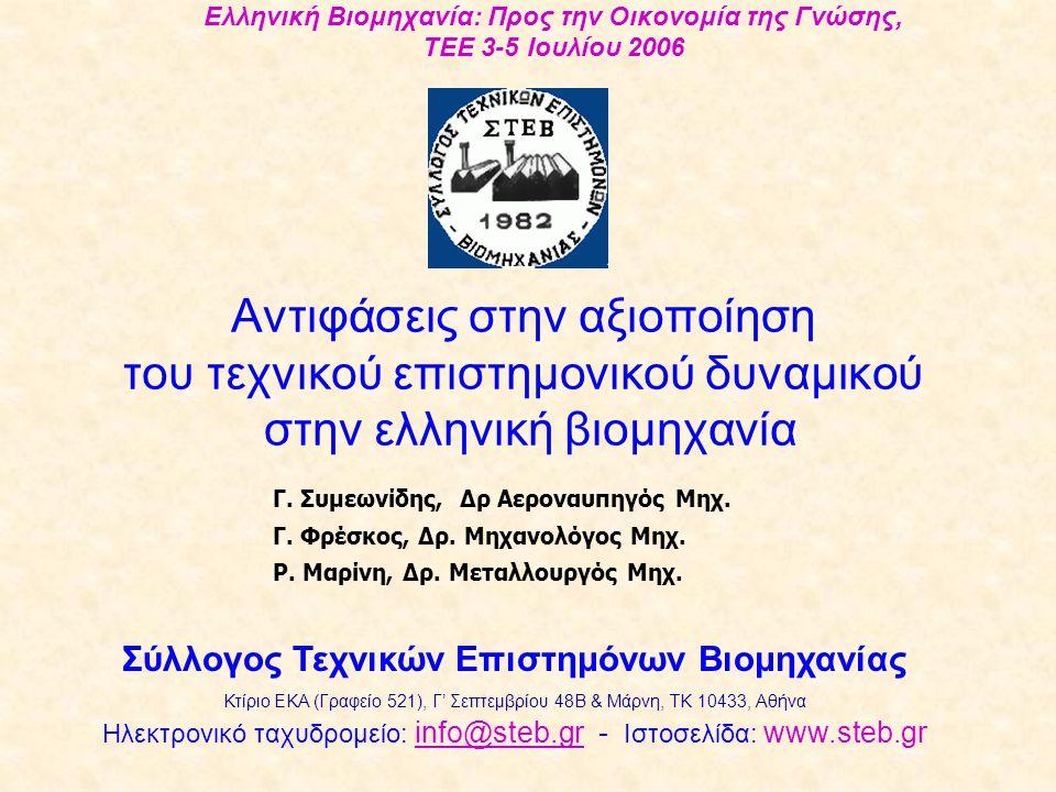 Αντιφάσεις στην αξιοποίηση του τεχνικού επιστημονικού δυναμικού στην ελληνική βιομηχανία Ελληνική Βιομηχανία: Προς την Οικονομία της Γνώσης, TEE 3-5 Ιουλίου 2006 Σύλλογος Τεχνικών Επιστημόνων Βιομηχανίας Κτίριο ΕΚΑ (Γραφείο 521), Γ' Σεπτεμβρίου 48Β & Μάρνη, TK 10433, Αθήνα Ηλεκτρονικό ταχυδρομείο: info@steb.gr - Ιστοσελίδα: www.steb.grinfo@steb.gr Γ.