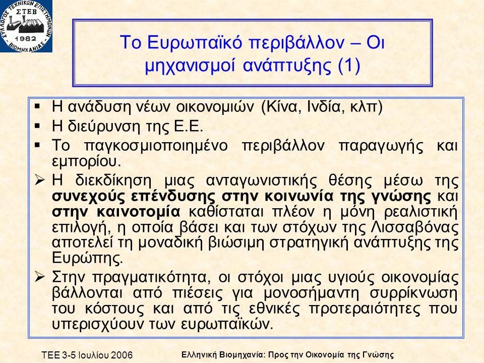 ΤΕΕ 3-5 Ιουλίου 2006 Ελληνική Βιομηχανία: Προς την Οικονομία της Γνώσης Το Ευρωπαϊκό περιβάλλον – Οι μηχανισμοί ανάπτυξης (1)  Η ανάδυση νέων οικονομιών (Κίνα, Ινδία, κλπ)  Η διεύρυνση της Ε.Ε.