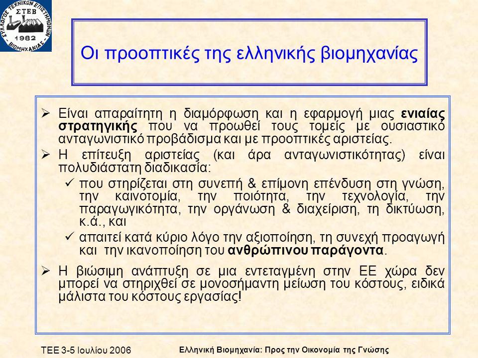 ΤΕΕ 3-5 Ιουλίου 2006 Ελληνική Βιομηχανία: Προς την Οικονομία της Γνώσης Οι προοπτικές της ελληνικής βιομηχανίας  Είναι απαραίτητη η διαμόρφωση και η εφαρμογή μιας ενιαίας στρατηγικής που να προωθεί τους τομείς με ουσιαστικό ανταγωνιστικό προβάδισμα και με προοπτικές αριστείας.