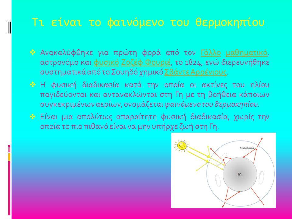 Τι είναι το φαινόμενο του θερμοκηπίου  Ανακαλύφθηκε για πρώτη φορά από τον Γάλλο μαθηματικό, αστρονόμο και φυσικό Ζοζέφ Φουριέ, το 1824, ενώ διερευνή