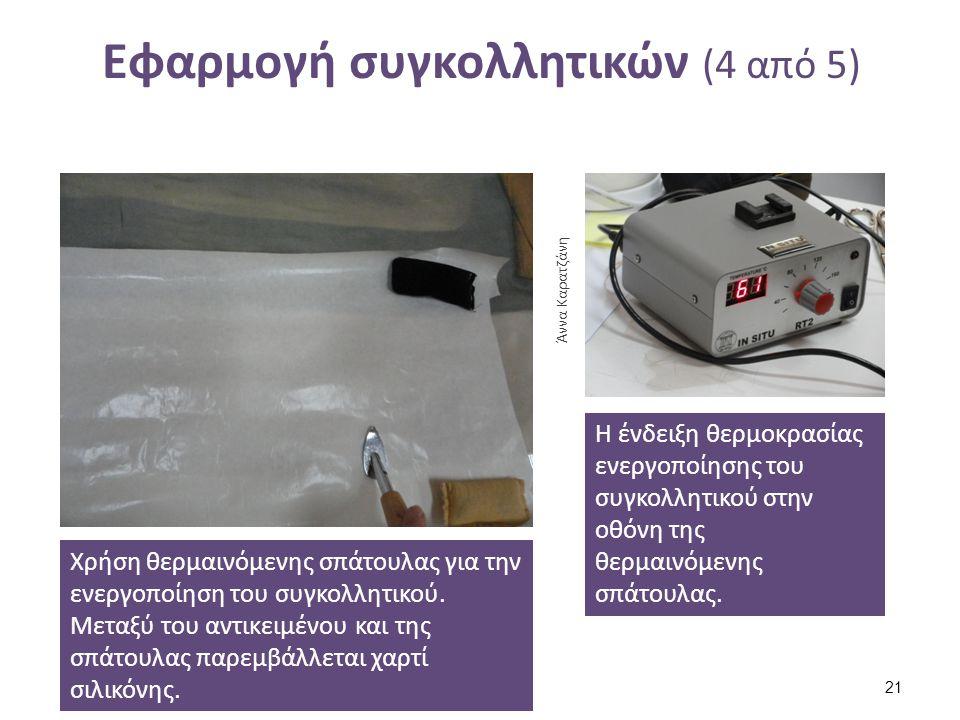 Εφαρμογή συγκολλητικών (4 από 5) Χρήση θερμαινόμενης σπάτουλας για την ενεργοποίηση του συγκολλητικού. Μεταξύ του αντικειμένου και της σπάτουλας παρεμ