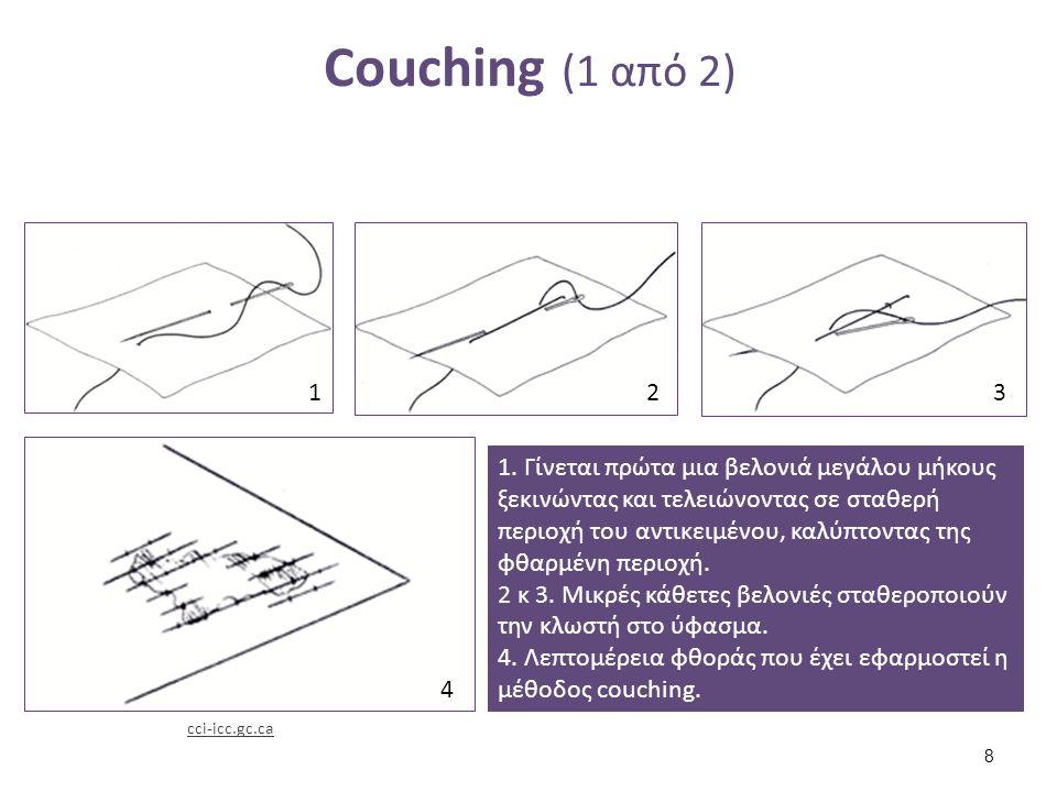 Couching (1 από 2) 1. Γίνεται πρώτα μια βελονιά μεγάλου μήκους ξεκινώντας και τελειώνοντας σε σταθερή περιοχή του αντικειμένου, καλύπτοντας της φθαρμέ
