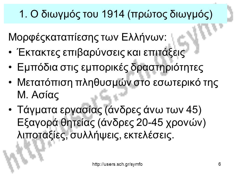 http://users.sch.gr/symfo17 3.Η περίθαλψη (1914-1921) Διανομή χρηματικού βοηθήματος.