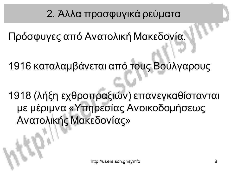 http://users.sch.gr/symfo8 2.Άλλα προσφυγικά ρεύματα Πρόσφυγες από Ανατολική Μακεδονία.