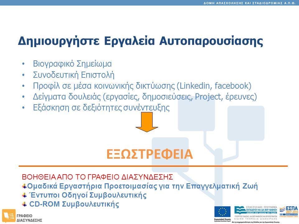 Δημιουργήστε Εργαλεία Αυτοπαρουσίασης Βιογραφικό Σημείωμα Συνοδευτική Επιστολή Προφίλ σε μέσα κοινωνικής δικτύωσης (Linkedin, facebook) Δείγματα δουλειάς (εργασίες, δημοσιεύσεις, Project, έρευνες) Εξάσκηση σε δεξιότητες συνέντευξης ΕΞΩΣΤΡΕΦΕΙΑ ΒΟΗΘΕΙΑ ΑΠΟ ΤΟ ΓΡΑΦΕΙΟ ΔΙΑΣΥΝΔΕΣΗΣ Ομαδικά Εργαστήρια Προετοιμασίας για την Επαγγελματική Ζωή Έντυποι Οδηγοί Συμβουλευτικής CD-ROM Συμβουλευτικής