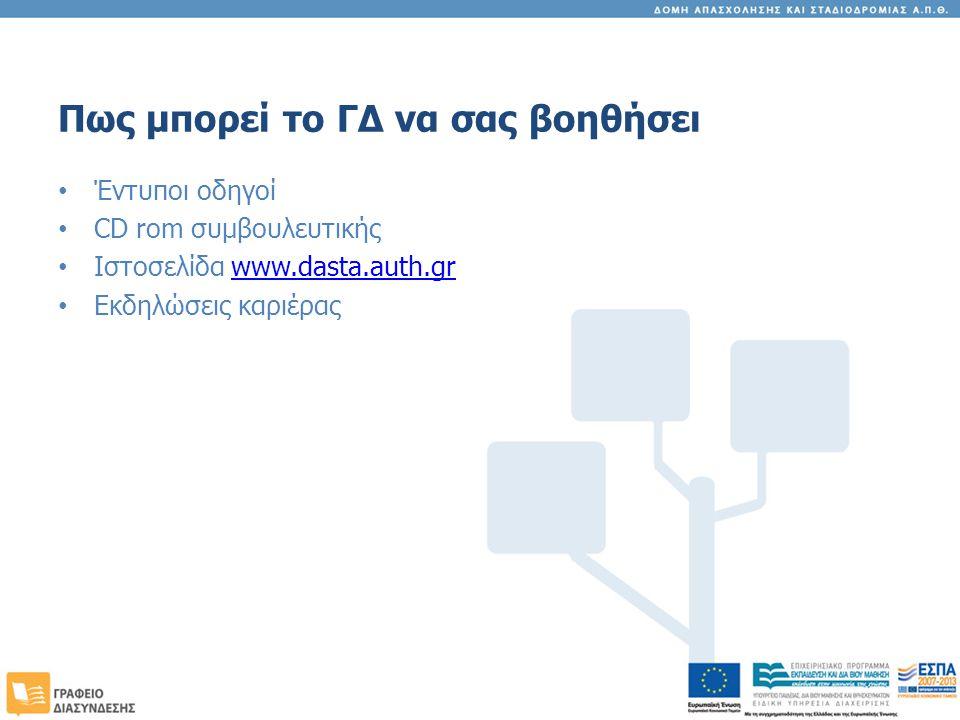 Πως μπορεί το ΓΔ να σας βοηθήσει Έντυποι οδηγοί CD rom συμβουλευτικής Ιστοσελίδα www.dasta.auth.grwww.dasta.auth.gr Εκδηλώσεις καριέρας
