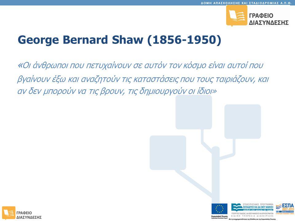 George Bernard Shaw (1856-1950) « Οι άνθρωποι που πετυχαίνουν σε αυτόν τον κόσμο είναι αυτοί που βγαίνουν έξω και αναζητούν τις καταστάσεις που τους ταιριάζουν, και αν δεν μπορούν να τις βρουν, τις δημιουργούν οι ίδιοι»