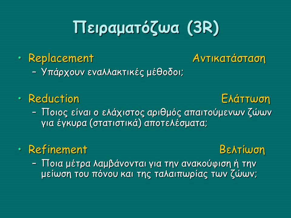 Πειραματόζωα (3R) ReplacementΑντικατάστασηReplacementΑντικατάσταση –Υπάρχουν εναλλακτικές μέθοδοι; ReductionΕλάττωσηReductionΕλάττωση –Ποιος είναι ο ε