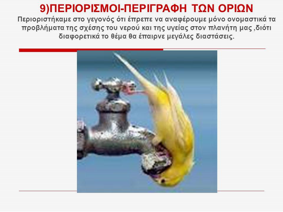 9)ΠΕΡΙΟΡΙΣΜΟΙ-ΠΕΡΙΓΡΑΦΗ ΤΩΝ ΟΡΙΩΝ Περιοριστήκαμε στο γεγονός ότι έπρεπε να αναφέρουμε μόνο ονομαστικά τα προβλήματα της σχέσης του νερού και της υγεία