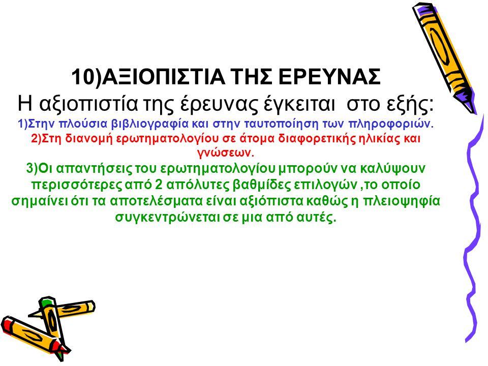 10)ΑΞΙΟΠΙΣΤΙΑ ΤΗΣ ΕΡΕΥΝΑΣ Η αξιοπιστία της έρευνας έγκειται στο εξής: 1)Στην πλούσια βιβλιογραφία και στην ταυτοποίηση των πληροφοριών. 2)Στη διανομή