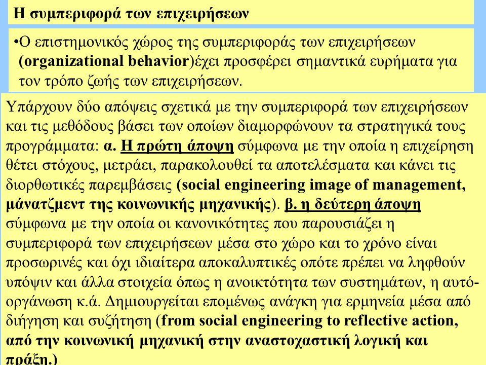 Η συμπεριφορά των επιχειρήσεων Ο επιστημονικός χώρος της συμπεριφοράς των επιχειρήσεων (organizational behavior)έχει προσφέρει σημαντικά ευρήματα για