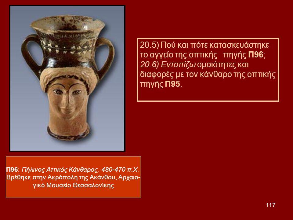 117 Π96: Πήλινος Αττικός Κάνθαρος, 480-470 π.Χ. Βρέθηκε στην Ακρόπολη της Ακάνθου, Αρχαιο- γικό Μουσείο Θεσσαλονίκης 20.5) Πού και πότε κατασκευάστηκε
