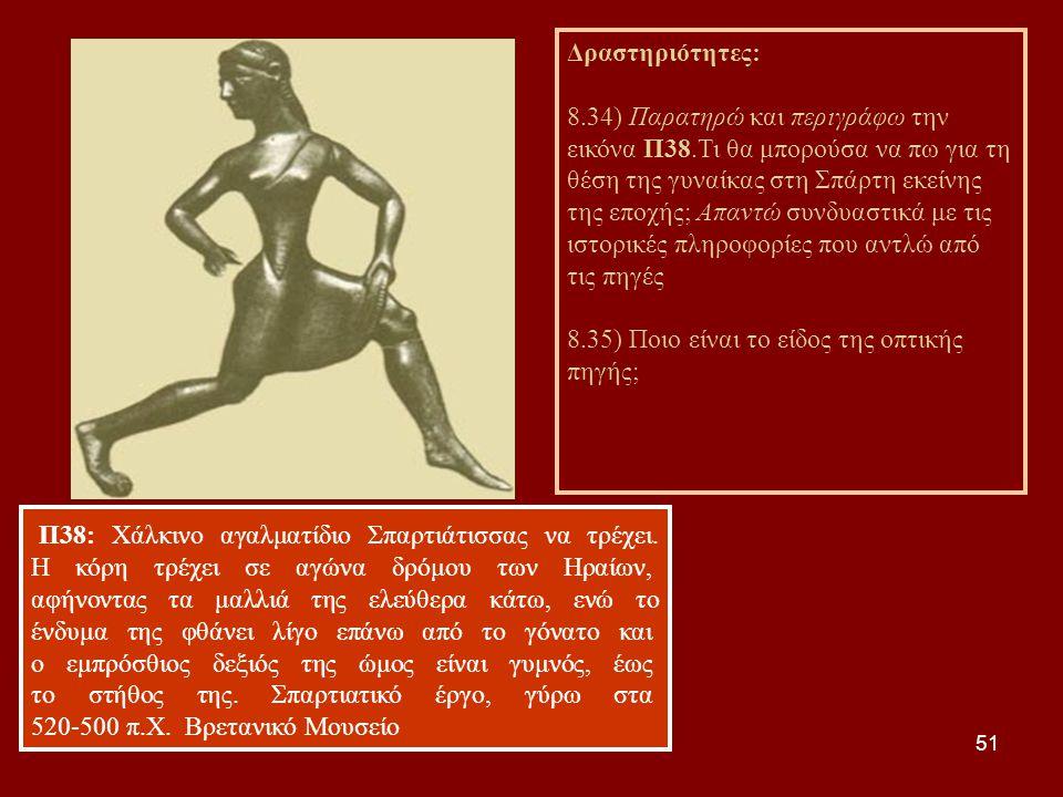 51 Π38: Χάλκινο αγαλματίδιο Σπαρτιάτισσας να τρέχει. Η κόρη τρέχει σε αγώνα δρόμου των Ηραίων, αφήνοντας τα μαλλιά της ελεύθερα κάτω, ενώ το ένδυμα τη
