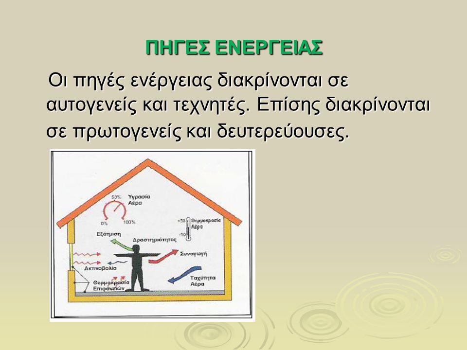 ΠΗΓΕΣ ΕΝΕΡΓΕΙΑΣ Οι πηγές ενέργειας διακρίνονται σε αυτογενείς και τεχνητές. Επίσης διακρίνονται σε πρωτογενείς και δευτερεύουσες. Οι πηγές ενέργειας δ