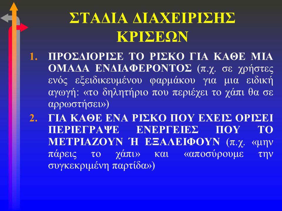 ΣΤΑΔΙΑ ΔΙΑΧΕΙΡΙΣΗΣ ΚΡΙΣΕΩΝ 3.ΠΡΟΣΔΙΟΡΙΣΕ ΤΗΝ ΑΙΤΙΑ ΤΟΥ ΡΙΣΚΟΥ (π.χ.