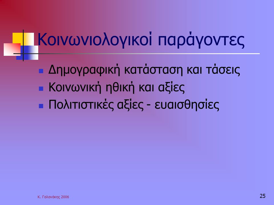 Κ. Γαλανάκης 2006 25 Κοινωνιολογικοί παράγοντες Δημογραφική κατάσταση και τάσεις Κοινωνική ηθική και αξίες Πολιτιστικές αξίες - ευαισθησίες