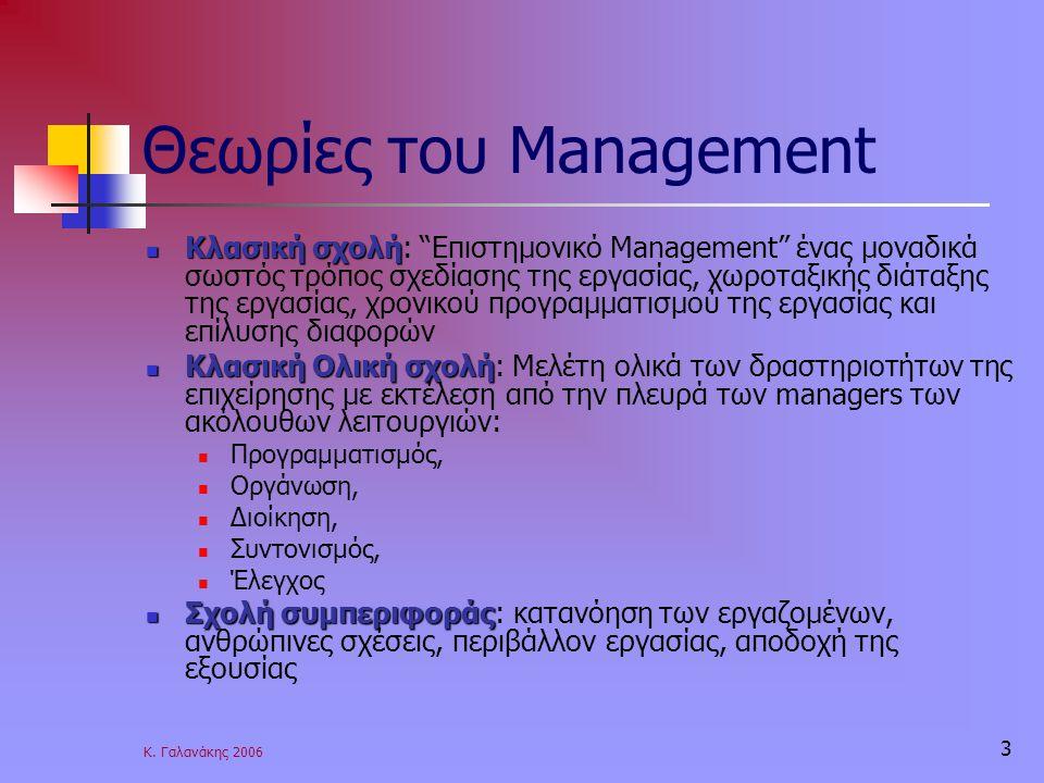 """Κ. Γαλανάκης 2006 3 Θεωρίες του Management Κλασική σχολή Κλασική σχολή: """"Επιστημονικό Management"""" ένας μοναδικά σωστός τρόπος σχεδίασης της εργασίας,"""