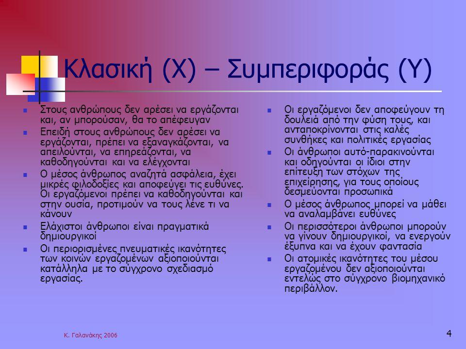 Κ. Γαλανάκης 2006 4 Κλασική (Χ) – Συμπεριφοράς (Υ) Στους ανθρώπους δεν αρέσει να εργάζονται και, αν μπορούσαν, θα το απέφευγαν Επειδή στους ανθρώπους