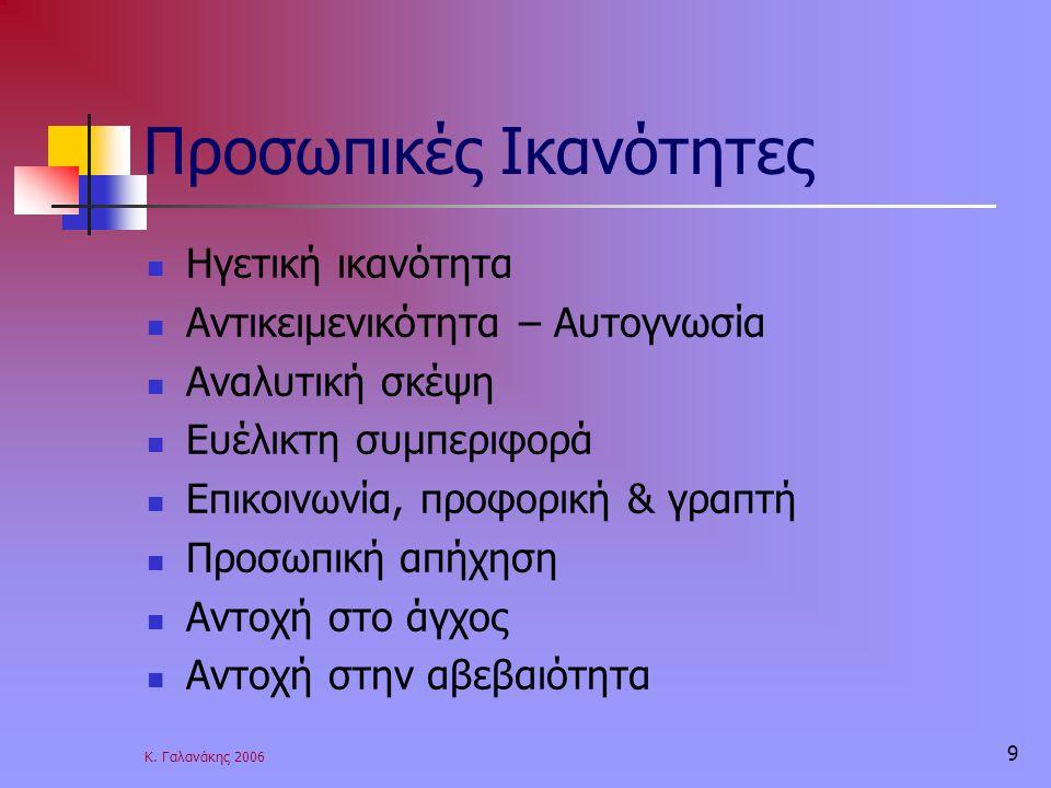 Κ. Γαλανάκης 2006 9 Προσωπικές Ικανότητες Ηγετική ικανότητα Αντικειμενικότητα – Αυτογνωσία Αναλυτική σκέψη Ευέλικτη συμπεριφορά Επικοινωνία, προφορική