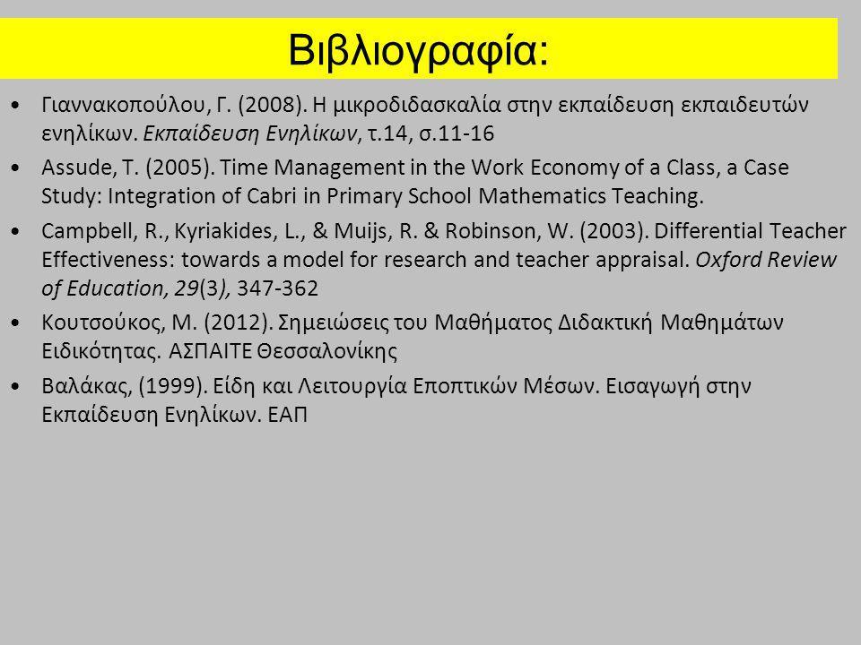 Βιβλιογραφία: Γιαννακοπούλου, Γ. (2008). Η μικροδιδασκαλία στην εκπαίδευση εκπαιδευτών ενηλίκων. Εκπαίδευση Ενηλίκων, τ.14, σ.11-16 Assude, T. (2005).