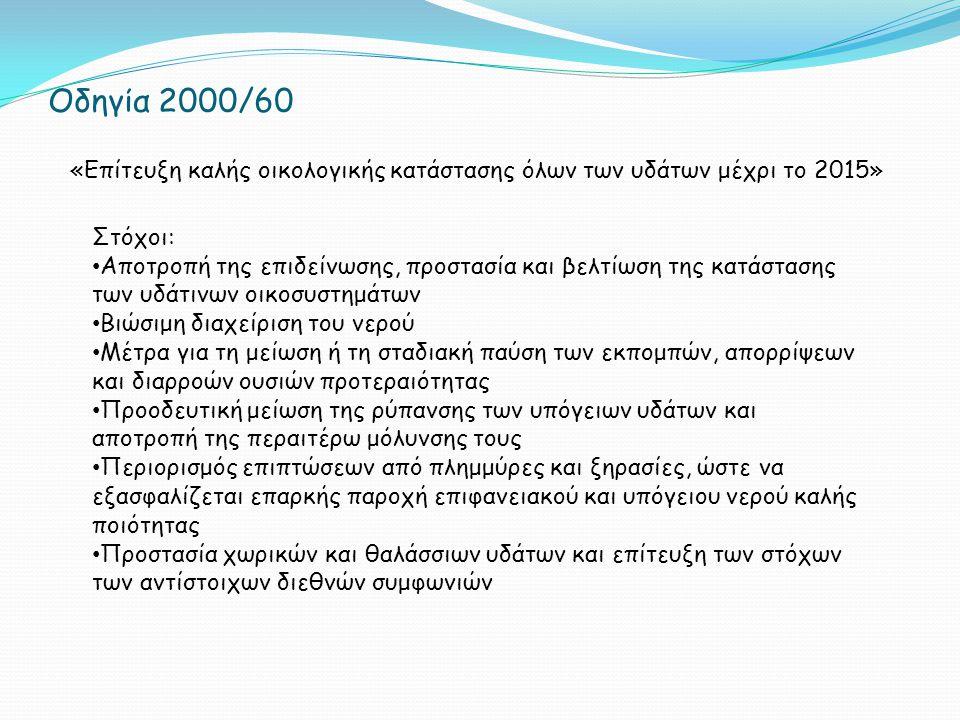 Οδηγία 2000/60 «Επίτευξη καλής οικολογικής κατάστασης όλων των υδάτων μέχρι το 2015» Στόχοι: Αποτροπή της επιδείνωσης, προστασία και βελτίωση της κατάστασης των υδάτινων οικοσυστημάτων Βιώσιμη διαχείριση του νερού Μέτρα για τη μείωση ή τη σταδιακή παύση των εκπομπών, απορρίψεων και διαρροών ουσιών προτεραιότητας Προοδευτική μείωση της ρύπανσης των υπόγειων υδάτων και αποτροπή της περαιτέρω μόλυνσης τους Περιορισμός επιπτώσεων από πλημμύρες και ξηρασίες, ώστε να εξασφαλίζεται επαρκής παροχή επιφανειακού και υπόγειου νερού καλής ποιότητας Προστασία χωρικών και θαλάσσιων υδάτων και επίτευξη των στόχων των αντίστοιχων διεθνών συμφωνιών