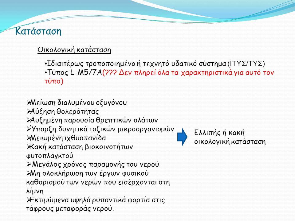 Κατάσταση Οικολογική κατάσταση Ιδιαιτέρως τροποποιημένο ή τεχνητό υδατικό σύστημα (ΙΤΥΣ/ΤΥΣ) Τύπος L-M5/7A(??.
