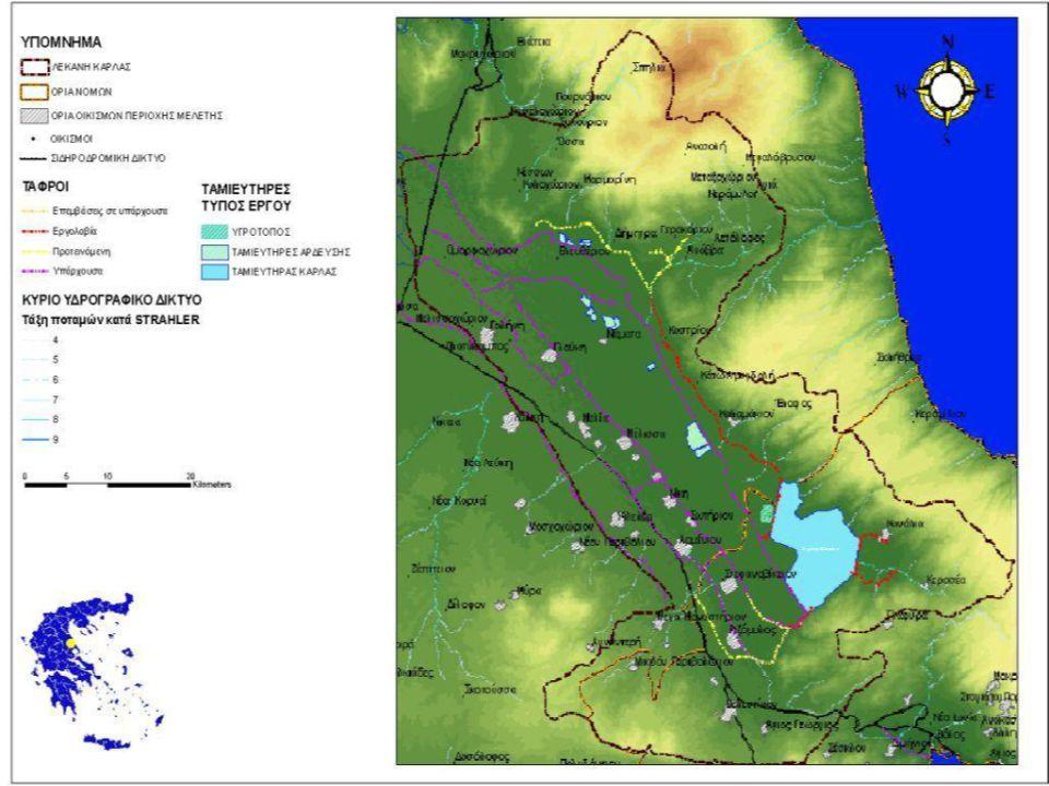 Πιέσεις Διάχυτες πηγές ρύπανσης BOD (kg/day)TN (kg/day)TP (kg/day) Γεωργία190.3135.09 Κτηνοτροφία17366.007671.97419.88 Αστικά υγρά απόβλητα64.1518.330.70 Σύνολο17430.157880.61455.67