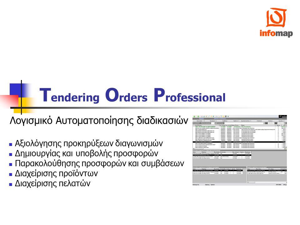 Tendering Orders Professional2 Αξιολόγηση προκηρύξεων διαγωνισμών Δημοσίευση προκήρυξης Παραλαβή προκήρυξης Διανομή Προκήρυξης στους Οίκους προϊόντων Προθεσμίες απάντησης για συμμετοχή Υπενθύμιση εργασιών (Reminders) Απόφαση συμμετοχής Οίκων στον διαγωνισμό