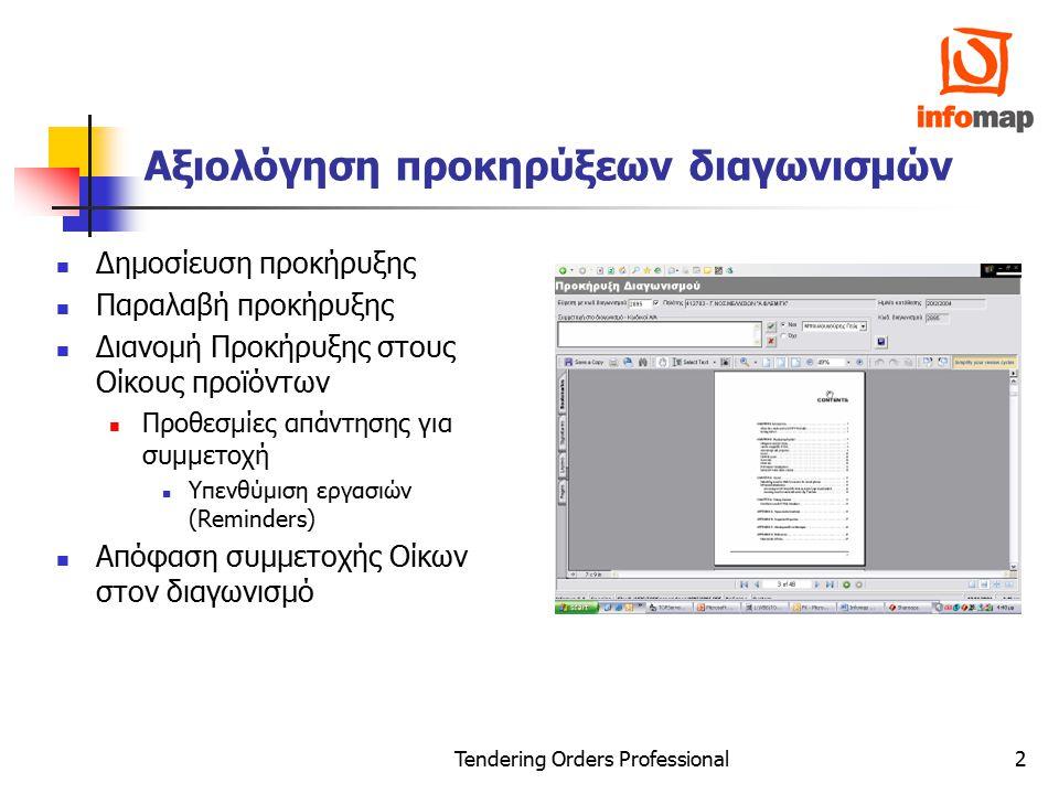 Tendering Orders Professional2 Αξιολόγηση προκηρύξεων διαγωνισμών Δημοσίευση προκήρυξης Παραλαβή προκήρυξης Διανομή Προκήρυξης στους Οίκους προϊόντων