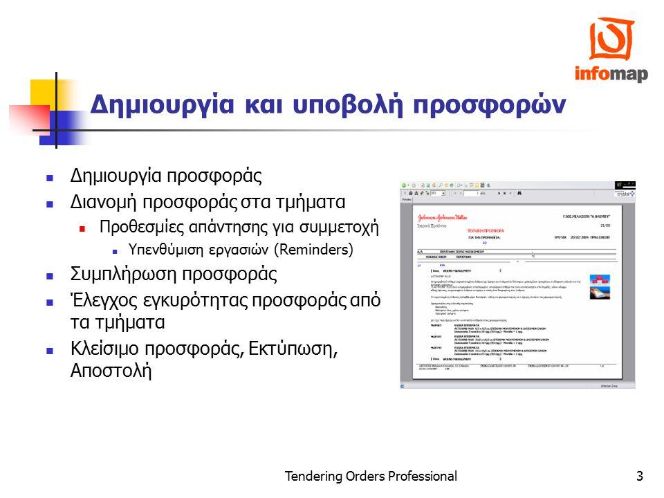 Tendering Orders Professional4 Παρακολούθηση Προσφορών & Συμβάσεων Παρακολούθηση κατάληξης της προσφοράς Μετατροπή προσφοράς σε σύμβαση Μερικά αποδεκτή Ολικά αποδεκτή Ενημέρωση ERP Συστήματος Παρακολούθηση Ολοκλήρωσης Σύμβασης