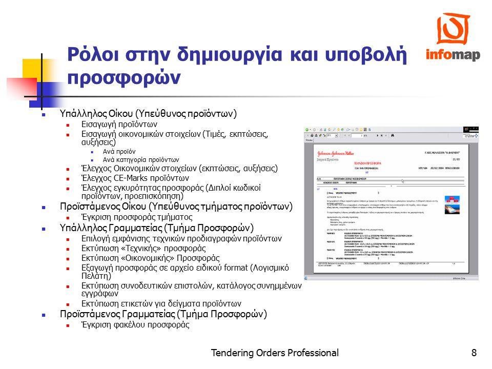 Tendering Orders Professional9 Διαχείριση Εφαρμογής Χρήστες / Τμήματα Τύποι Προσφορών / Διαγωνισμών Προθεσμίες …… Βοηθητικοί Πίνακες