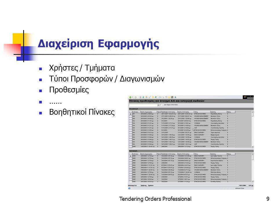Tendering Orders Professional10 Στατιστικά Διαγωνισμών π.χ.