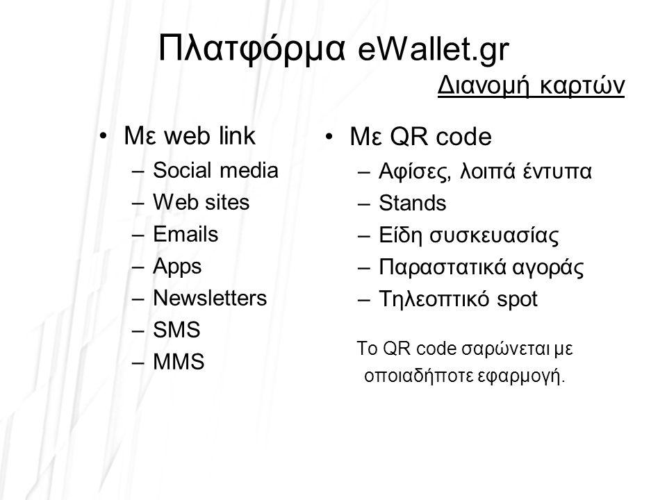 Πλατφόρμα eWallet.gr Διανομή καρτών Με web link –Social media –Web sites –Emails –Apps –Newsletters –SMS –MMS Με QR code –Αφίσες, λοιπά έντυπα –Stands –Είδη συσκευασίας –Παραστατικά αγοράς –Τηλεοπτικό spot Το QR code σαρώνεται με οποιαδήποτε εφαρμογή.