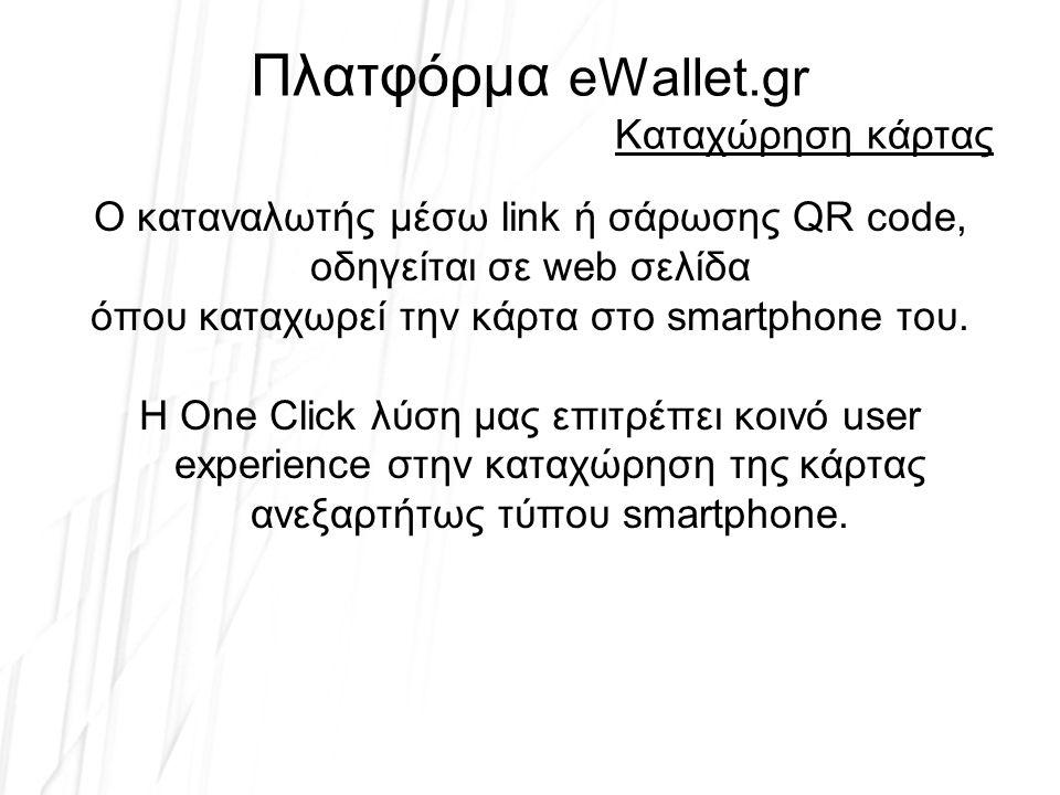 Πλατφόρμα eWallet.gr Έλεγχος κάρτας στο POS Έλεγχος εγκυρότητας –Σάρωση με 2D scanner ή πληκτρολόγηση στο POS –Σάρωση από tablet ή smartphone –Χρήση web forms –Οπτική επαλήθευση Κατόπιν ελέγχου, βάσει specs –μεταβολή πόντων –μεταβολή υπολοίπου –απόδοση προσφοράς –απόδοση σφραγίδας –ακύρωση κάρτας –αλλαγή περιεχομένου –απεριόριστη ευελιξία