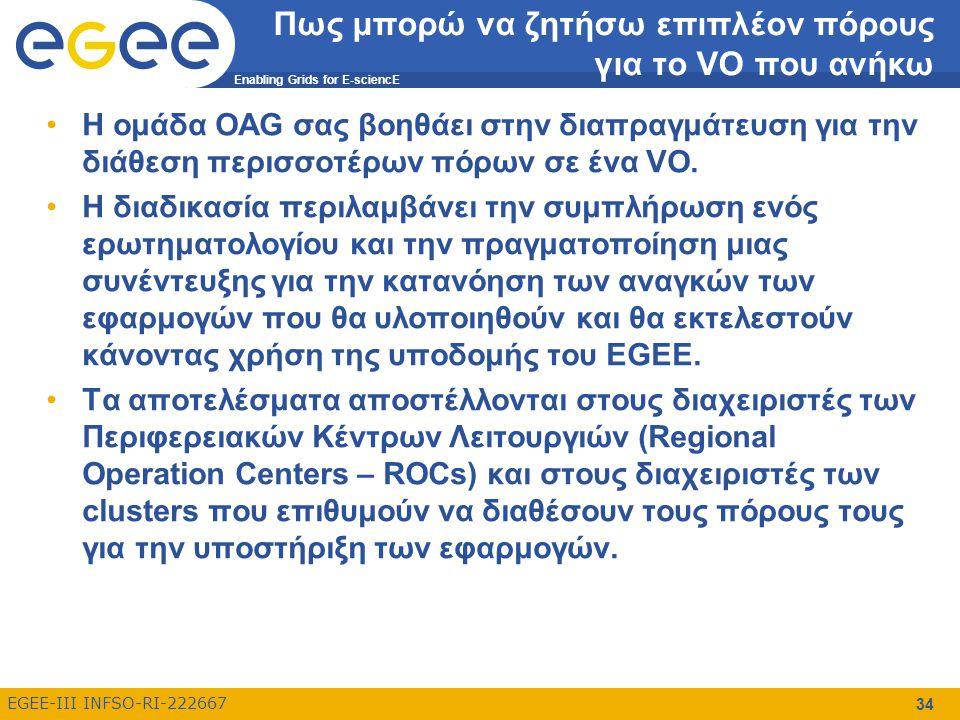 Enabling Grids for E-sciencE EGEE-III INFSO-RI-222667 34 Πως μπορώ να ζητήσω επιπλέον πόρους για το VO που ανήκω Η ομάδα OAG σας βοηθάει στην διαπραγμάτευση για την διάθεση περισσοτέρων πόρων σε ένα VO.