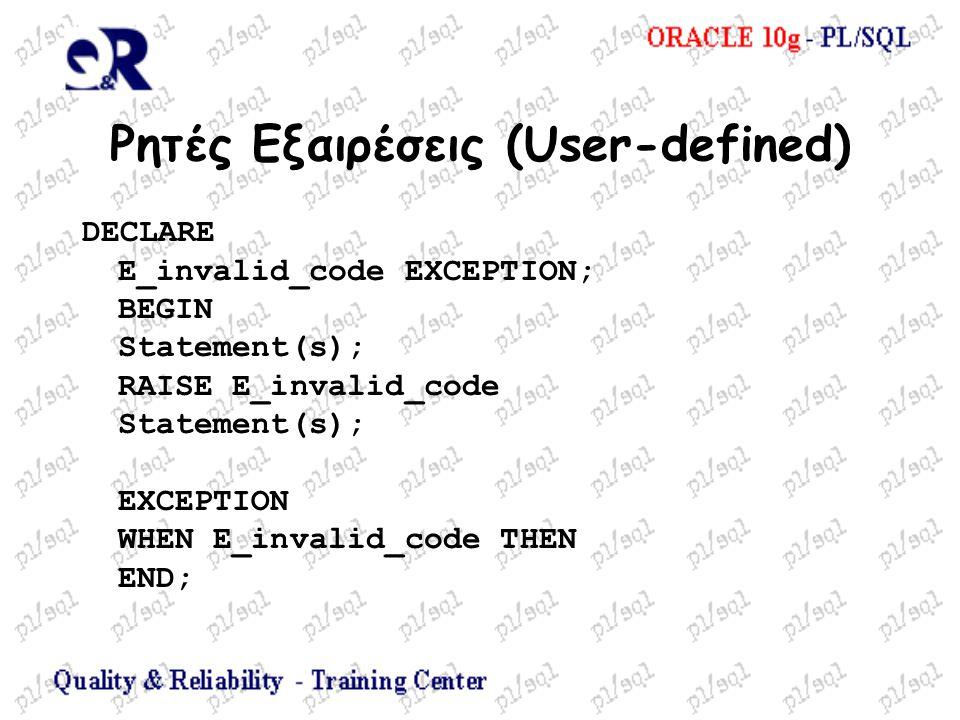 Ρητές Εξαιρέσεις (User-defined) DECLARE E_invalid_code EXCEPTION; BEGIN Statement(s); RAISE E_invalid_code Statement(s); EXCEPTION WHEN E_invalid_code
