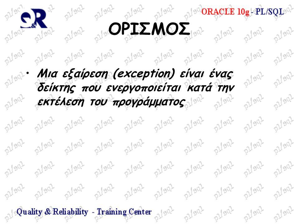 ΟΡΙΣΜΟΣ Μια εξαίρεση (exception) είναι ένας δείκτης που ενεργοποιείται κατά την εκτέλεση του προγράμματος