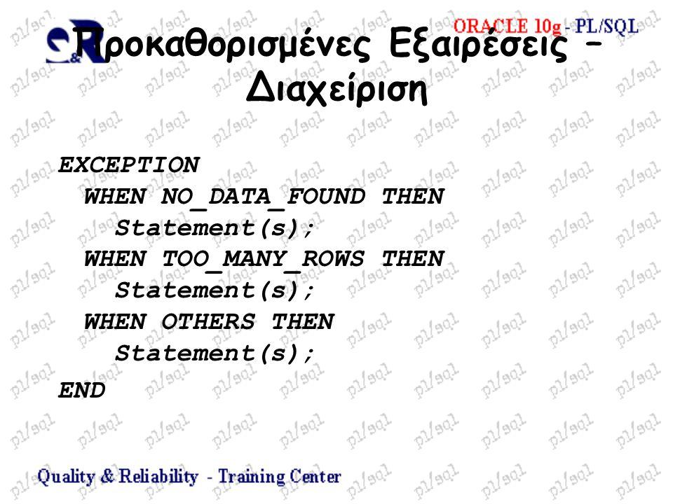 Προκαθορισμένες Εξαιρέσεις – Διαχείριση EXCEPTION WHEN NO_DATA_FOUND THEN Statement(s); WHEN TOO_MANY_ROWS THEN Statement(s); WHEN OTHERS THEN Stateme