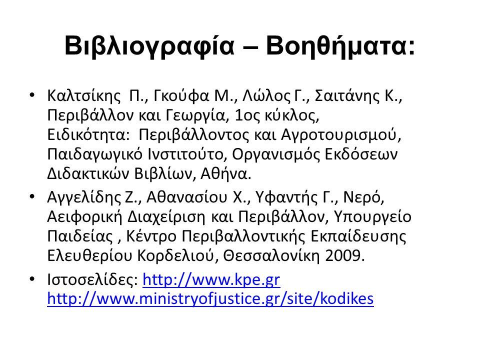 Βιβλιογραφία – Βοηθήματα: Καλτσίκης Π., Γκούφα Μ., Λώλος Γ., Σαιτάνης Κ., Περιβάλλον και Γεωργία, 1ος κύκλος, Ειδικότητα: Περιβάλλοντος και Αγροτουρισμού, Παιδαγωγικό Ινστιτούτο, Οργανισμός Εκδόσεων Διδακτικών Βιβλίων, Αθήνα.