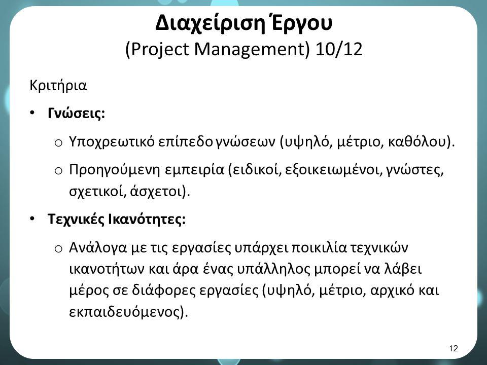 Διαχείριση Έργου (Project Management) 11/12 Κριτήρια (συνέχεια) Παραγωγικότητα: o Αφορά στο ποσοστό των ωρών της εργάσιμης μέρας που είναι διαθέσιμος, αλλά και παραγωγικός το κάθε μέλος της ομάδας.