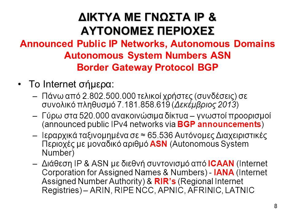8 ΔΙΚΤΥΑ ME ΓΝΩΣΤΑ IP & ΑΥΤΟΝΟΜΕΣ ΠΕΡΙΟΧΕΣ ΔΙΚΤΥΑ ME ΓΝΩΣΤΑ IP & ΑΥΤΟΝΟΜΕΣ ΠΕΡΙΟΧΕΣ Announced Public IP Networks, Autonomous Domains Autonomous System Numbers ASN Border Gateway Protocol BGP Το Internet σήμερα: –Πάνω από 2.802.500.000 τελικοί χρήστες (συνδέσεις) σε συνολικό πληθυσμό 7.181.858.619 (Δεκέμβριος 2013) –Γύρω στα 520.000 ανακοινώσιμα δίκτυα – γνωστοί προορισμοί (announced public IPv4 networks via BGP announcements) –Ιεραρχικά ταξινομημένα σε ≈ 65.536 Αυτόνομες Διαχειριστικές Περιοχές με μοναδικό αριθμό ASN (Autonomous System Number) –Διάθεση IP & ASN με διεθνή συντονισμό από ICAAN (Internet Corporation for Assigned Names & Numbers) - IANA (Internet Assigned Number Authority) & RIR's (Regional Internet Registries) – ARIN, RIPE NCC, APNIC, AFRINIC, LATNIC