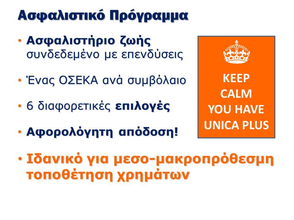 Unica Plus Ηλικίες εισόδου : 0 έως 60 ετών Ηλικίες εισόδου : 0 έως 60 ετών Μέγιστη Ηλικία στη λήξη : 70 ετών Μέγιστη Ηλικία στη λήξη : 70 ετών Ελάχιστη Διάρκεια : 10 χρόνια Ελάχιστη Διάρκεια : 10 χρόνια Ποσά ασφαλίστρων : Ποσά ασφαλίστρων :  Ελάχιστο : €3.000  Μέγιστο : €100.000 Δυνατότητα έκτακτης καταβολής ελάχιστο ποσό : €1.000 Δυνατότητα έκτακτης καταβολής ελάχιστο ποσό : €1.000 Συνδυασμός με ασφάλιση ζωής Ελάχιστο ποσό : €300 Συνδυασμός με ασφάλιση ζωής Ελάχιστο ποσό : €300