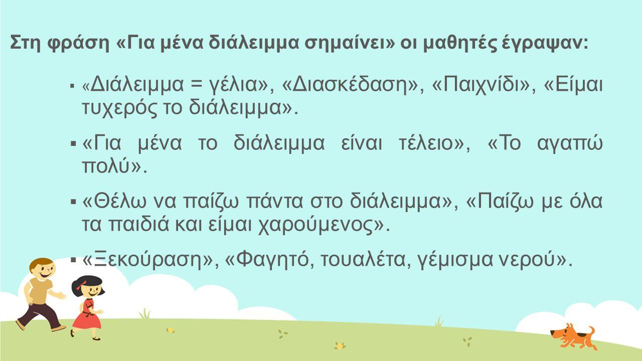 Στη φράση «Για μένα διάλειμμα σημαίνει» οι μαθητές έγραψαν:  « Διάλειμμα = γέλια», «Διασκέδαση», «Παιχνίδι», «Είμαι τυχερός το διάλειμμα».