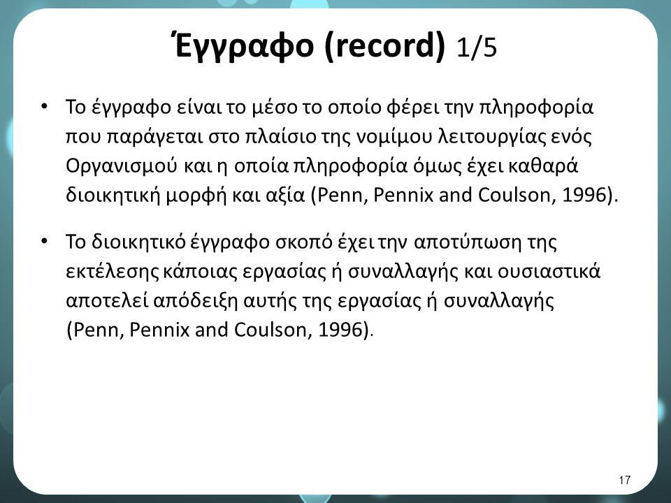 Έγγραφο (record) 1/5 Το έγγραφο είναι το μέσο το οποίο φέρει την πληροφορία που παράγεται στο πλαίσιο της νομίμου λειτουργίας ενός Οργανισμού και η οποία πληροφορία όμως έχει καθαρά διοικητική μορφή και αξία (Penn, Pennix and Coulson, 1996).