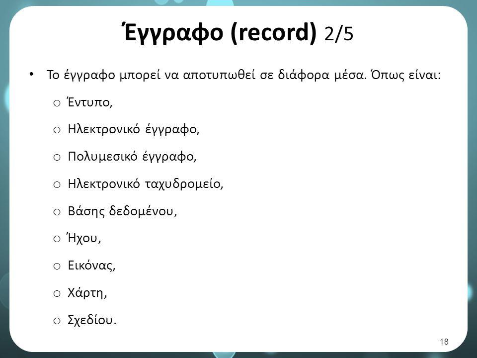 Έγγραφο (record) 2/5 Το έγγραφο μπορεί να αποτυπωθεί σε διάφορα μέσα.