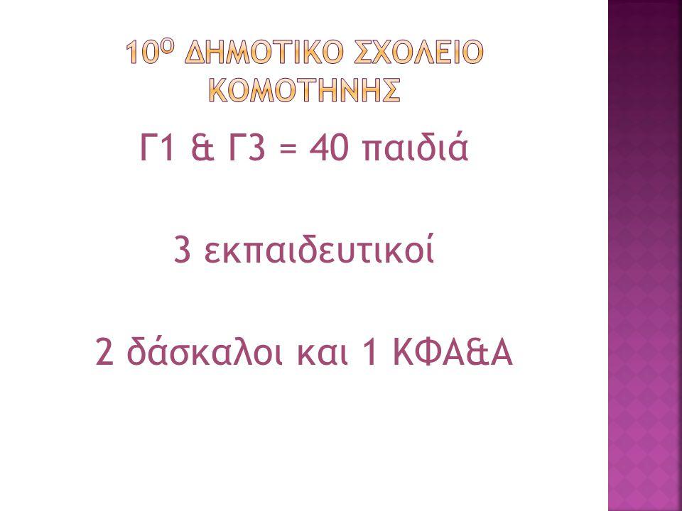Γ1 & Γ3 = 40 παιδιά 3 εκπαιδευτικοί 2 δάσκαλοι και 1 ΚΦΑ&Α
