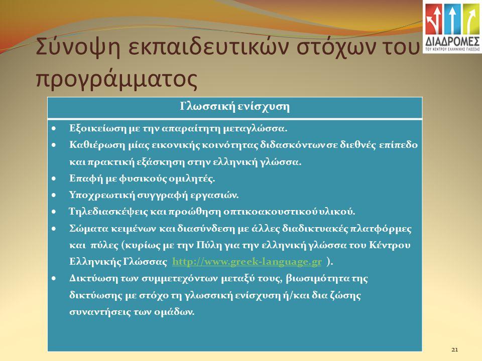 Σύνοψη εκπαιδευτικών στόχων του προγράμματος Γλωσσική ενίσχυση  Εξοικείωση με την απαραίτητη μεταγλώσσα.  Καθιέρωση μίας εικονικής κοινότητας διδασκ