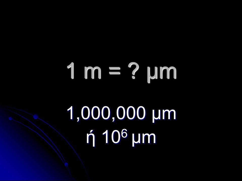 1 m = μm 1,000,000 μm ή 10 6 μm