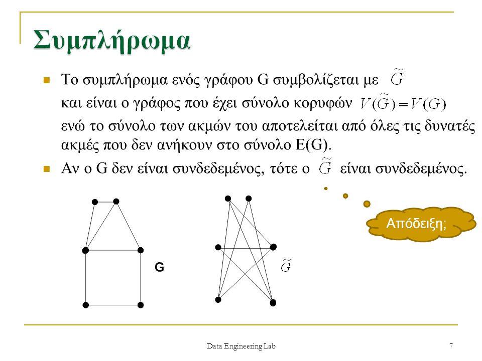 Ένας γράφος G ονομάζεται πολυμερής n-partite αν το σύνολο V(G) μπορεί αν χωρισθεί σε n μη κενά υποσύνολα V 1,V 2,…,V n έτσι ώστε καμία ακμή του G να μην ενώνει κορυφές του ίδιου μερικού-partite συνόλου του G V1V1 V3V3 V2V2 Data Engineering Lab Τριμερής γράφος 18