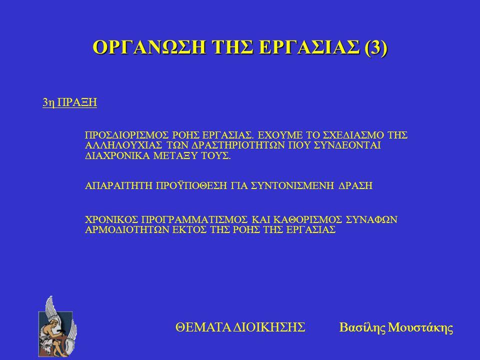 Βασίλης Μουστάκης ΘΕΜΑΤΑ ΔΙΟΙΚΗΣΗΣ ΟΡΓΑΝΩΣΗ ΤΗΣ ΕΡΓΑΣΙΑΣ (3) 3η ΠΡΑΞΗ ΠΡΟΣΔΙΟΡΙΣΜΟΣ ΡΟΗΣ ΕΡΓΑΣΙΑΣ. ΕΧΟΥΜΕ ΤΟ ΣΧΕΔΙΑΣΜΟ ΤΗΣ ΑΛΛΗΛΟΥΧΙΑΣ ΤΩΝ ΔΡΑΣΤΗΡΙΟΤΗ